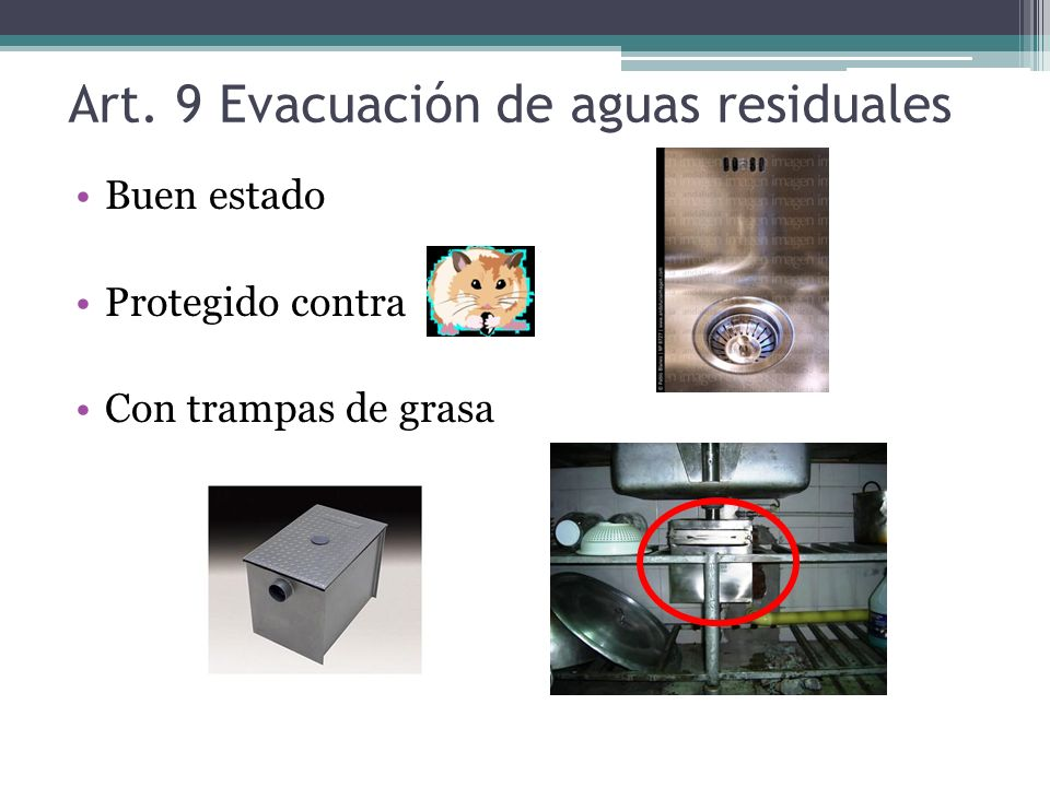 Art. 9 Evacuación de aguas residuales