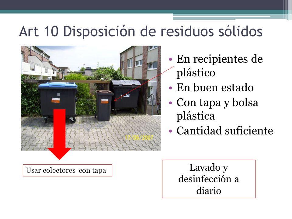 Art 10 Disposición de residuos sólidos