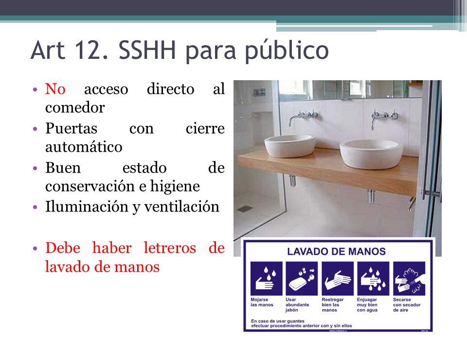 Art 12. SSHH para público No acceso directo al comedor