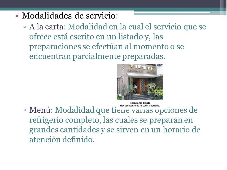 Modalidades de servicio: