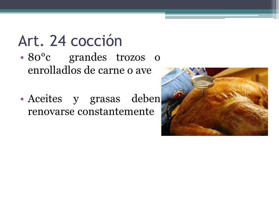 Art. 24 cocción 80°c grandes trozos o enrolladlos de carne o ave