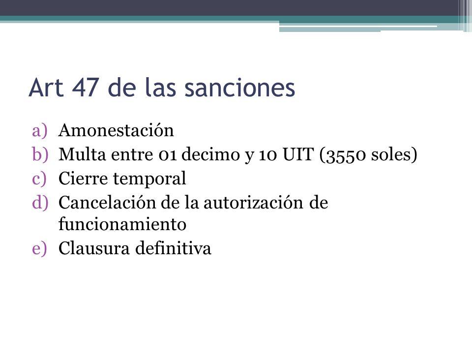 Art 47 de las sanciones Amonestación