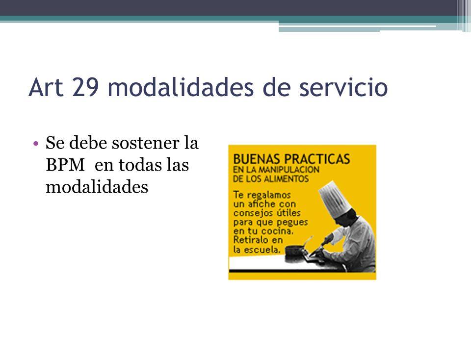 Art 29 modalidades de servicio