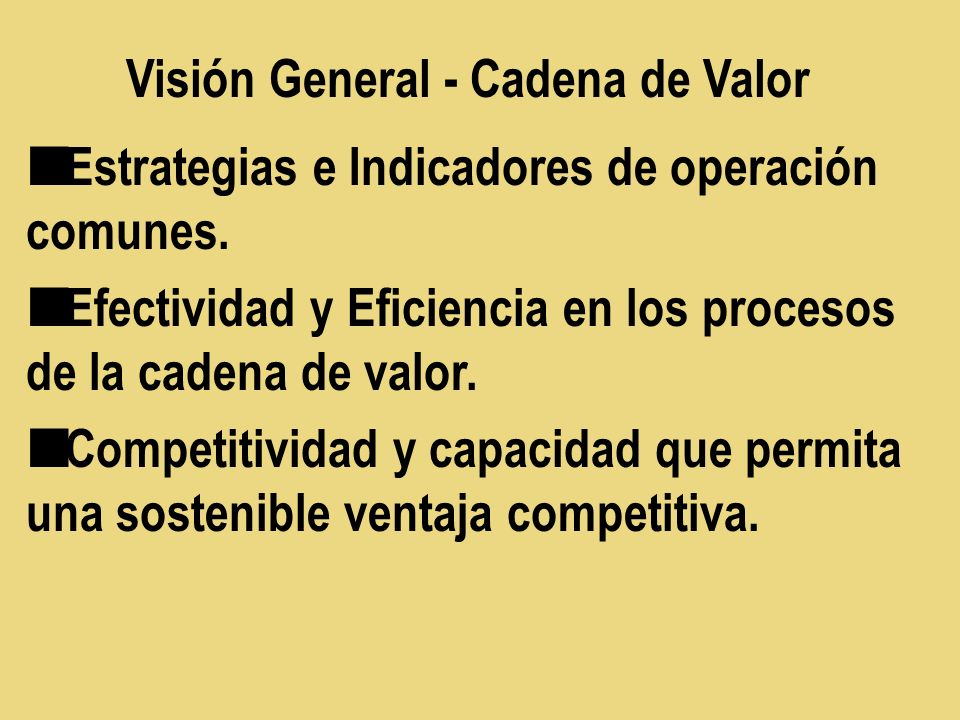 Visión General - Cadena de Valor