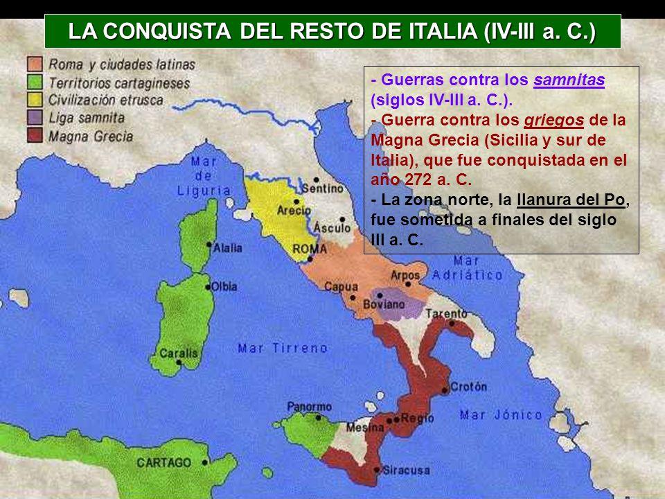 LA CONQUISTA DEL RESTO DE ITALIA (IV-III a. C.)