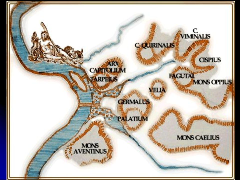 Algunas tribus de origen latino se agruparon a orillas del río Tíber: estos primeros asentamientos tuvieron lugar, en torno al siglo X a. C., en la colina del Palatino; los primeros pobladores, que vivían en chozas, se dedicaron a la ganadería y, más tarde, también a la agricultura.