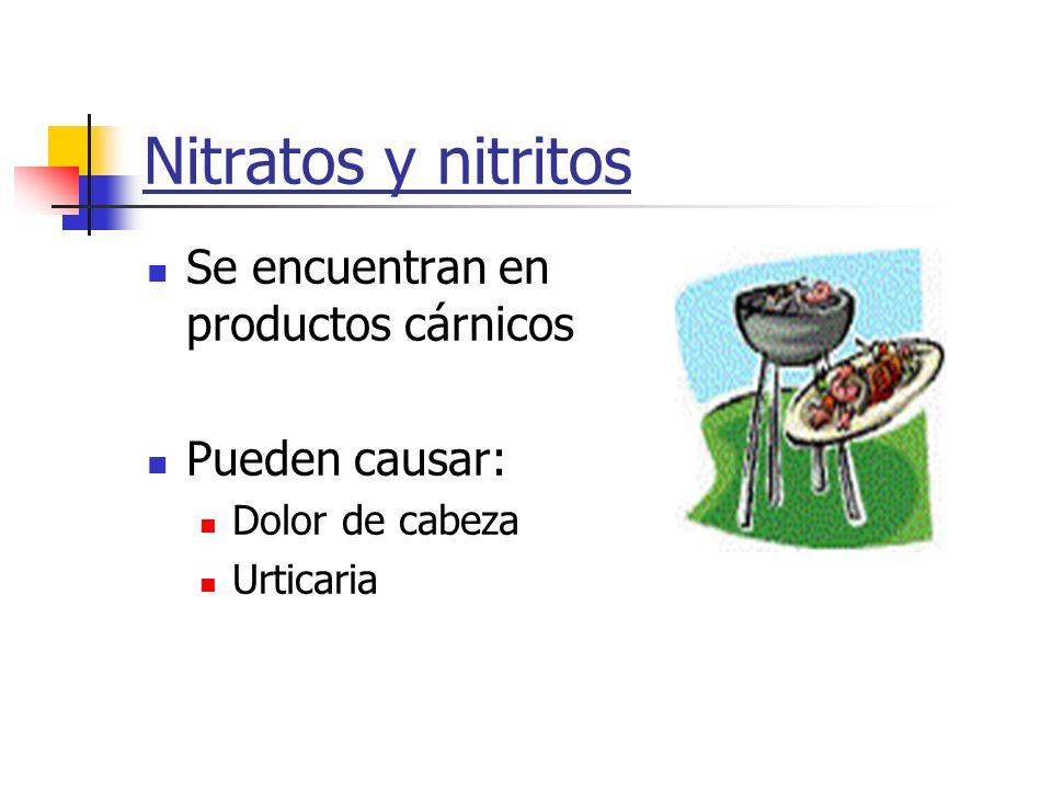 Nitratos y nitritos Se encuentran en productos cárnicos Pueden causar:
