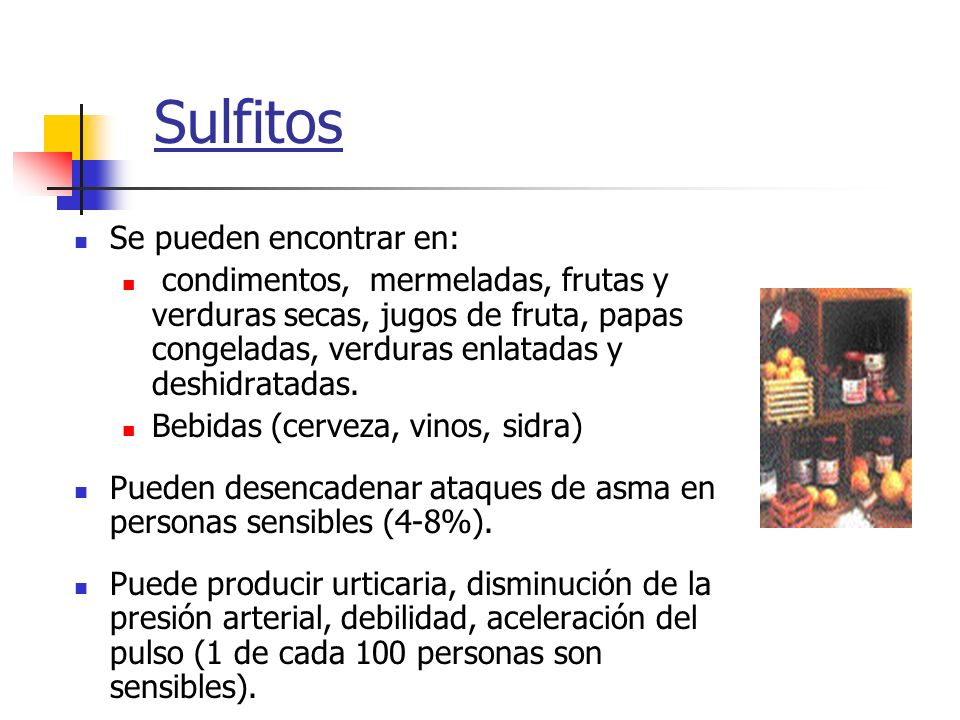 Sulfitos Se pueden encontrar en: