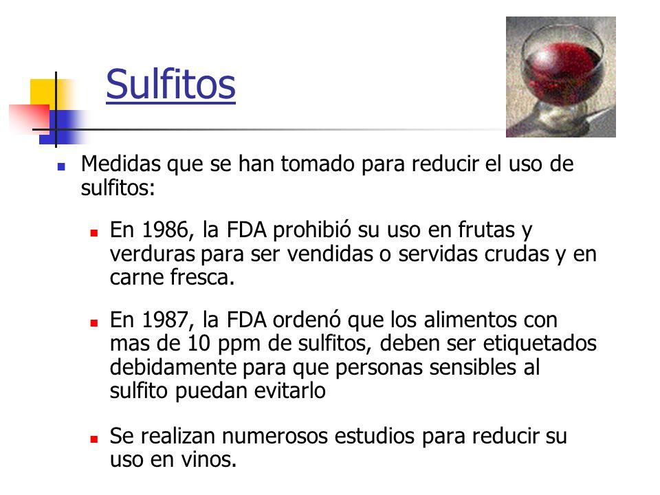 Sulfitos Medidas que se han tomado para reducir el uso de sulfitos: