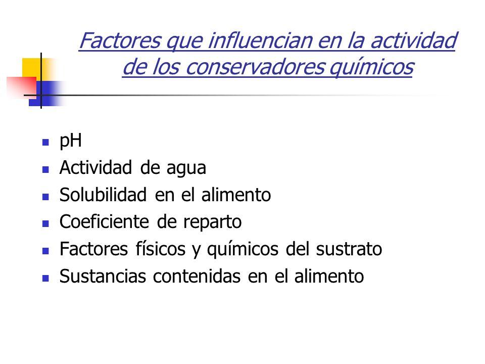 Factores que influencian en la actividad de los conservadores químicos