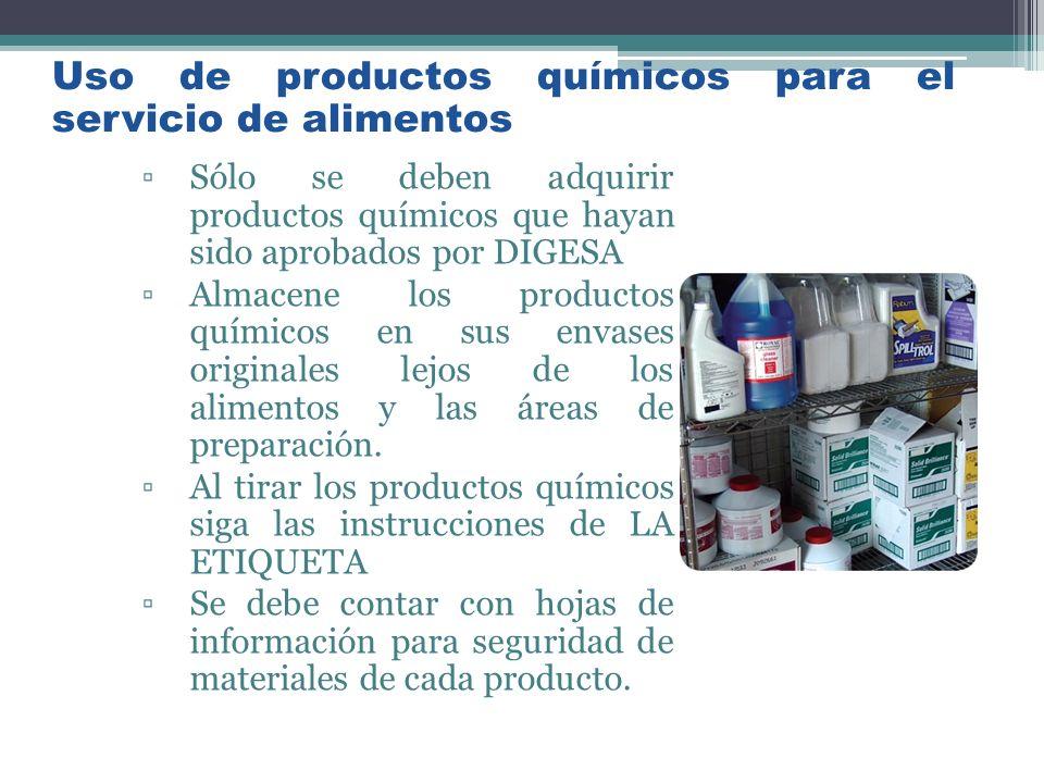 Uso de productos químicos para el servicio de alimentos