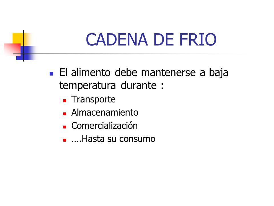 CADENA DE FRIOEl alimento debe mantenerse a baja temperatura durante : Transporte. Almacenamiento. Comercialización.