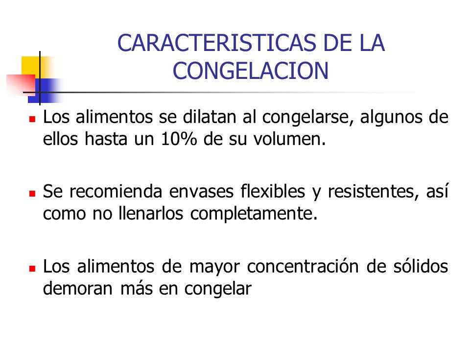 CARACTERISTICAS DE LA CONGELACION