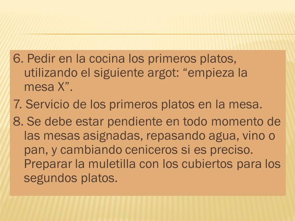 6. Pedir en la cocina los primeros platos, utilizando el siguiente argot: empieza la mesa X .