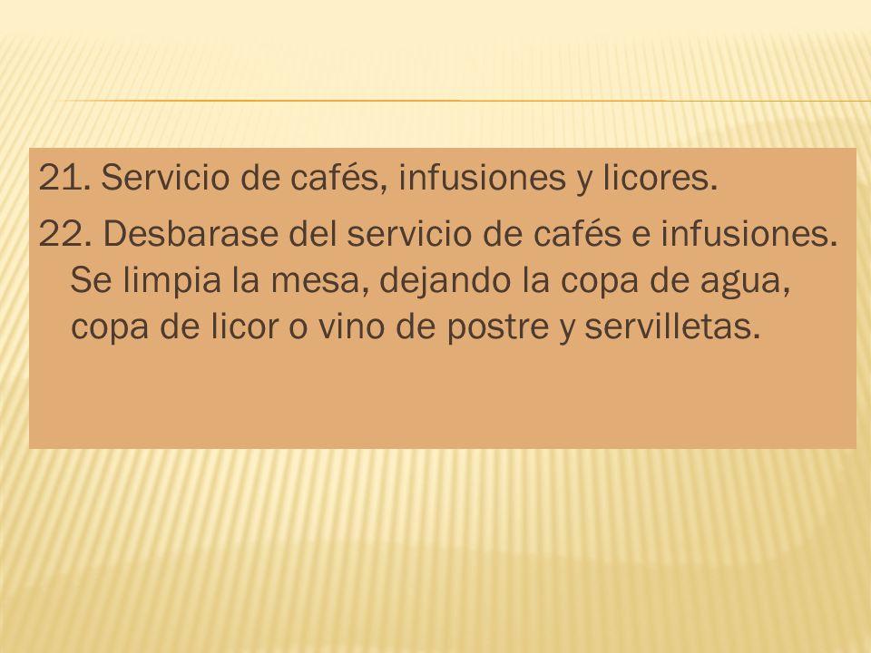 21. Servicio de cafés, infusiones y licores. 22