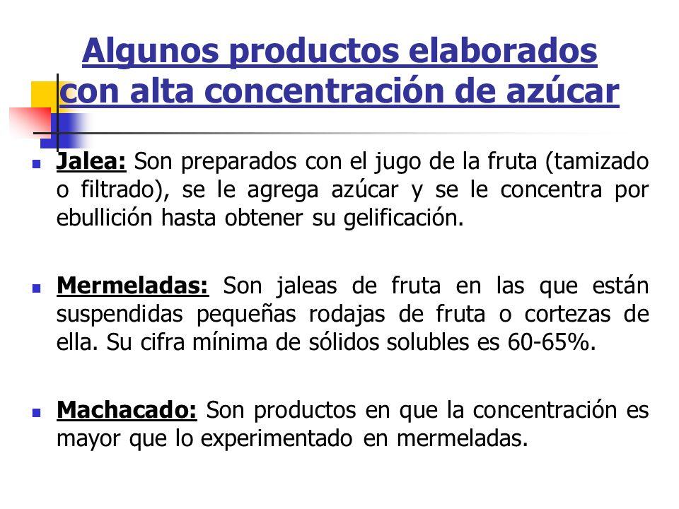 Algunos productos elaborados con alta concentración de azúcar