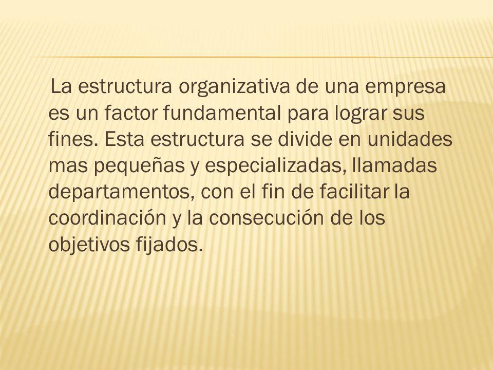 La estructura organizativa de una empresa es un factor fundamental para lograr sus fines.
