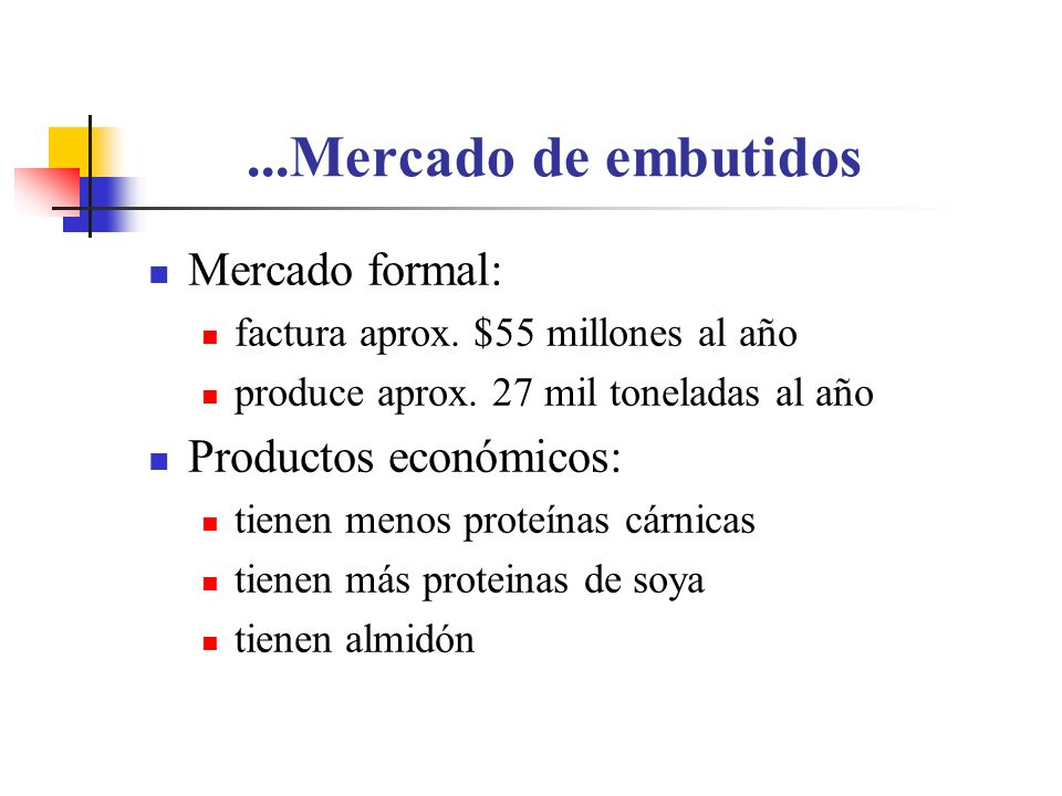 ...Mercado de embutidos Mercado formal: Productos económicos: