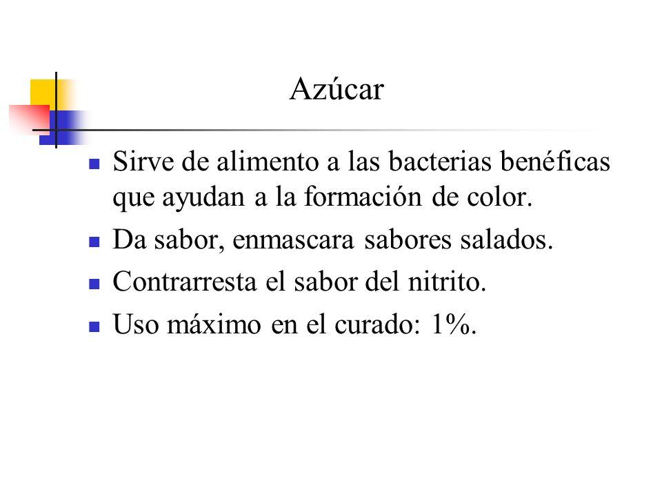 Azúcar Sirve de alimento a las bacterias benéficas que ayudan a la formación de color. Da sabor, enmascara sabores salados.