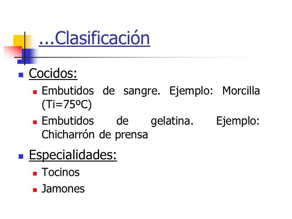...Clasificación Cocidos: Especialidades: