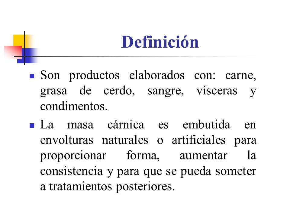 Definición Son productos elaborados con: carne, grasa de cerdo, sangre, vísceras y condimentos.