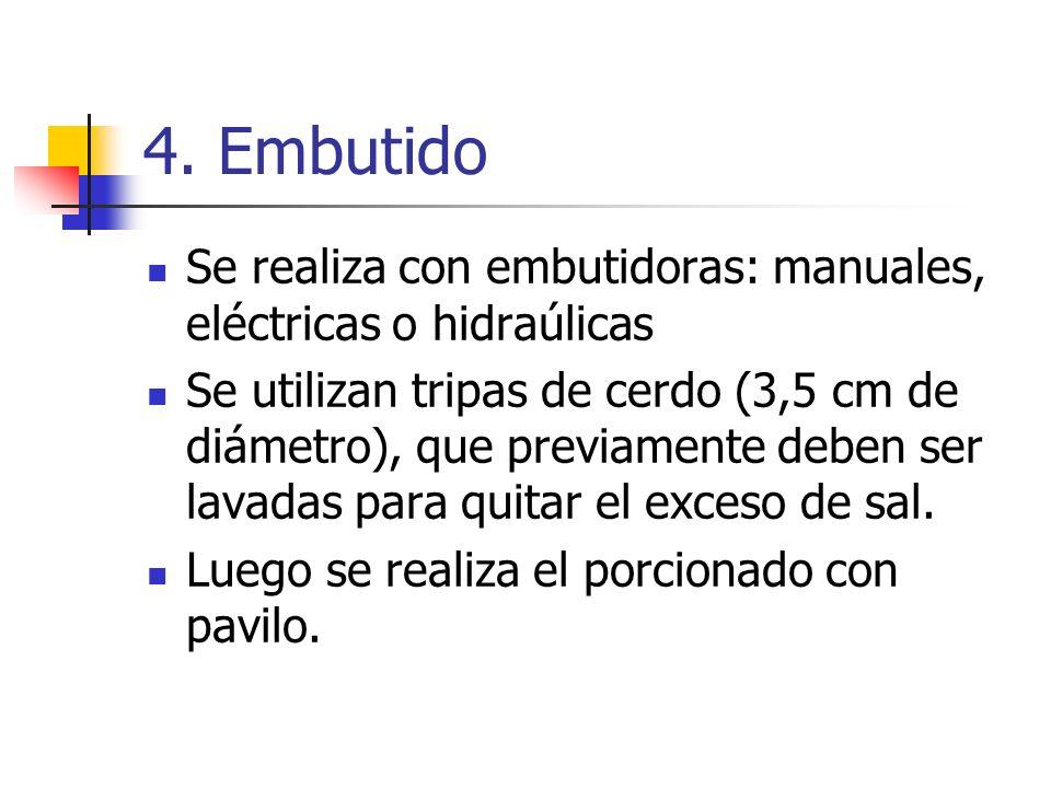 4. Embutido Se realiza con embutidoras: manuales, eléctricas o hidraúlicas.