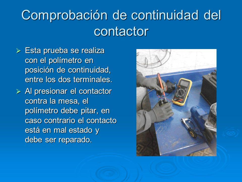 Comprobación de continuidad del contactor