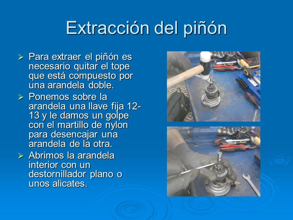 Extracción del piñón Para extraer el piñón es necesario quitar el tope que está compuesto por una arandela doble.