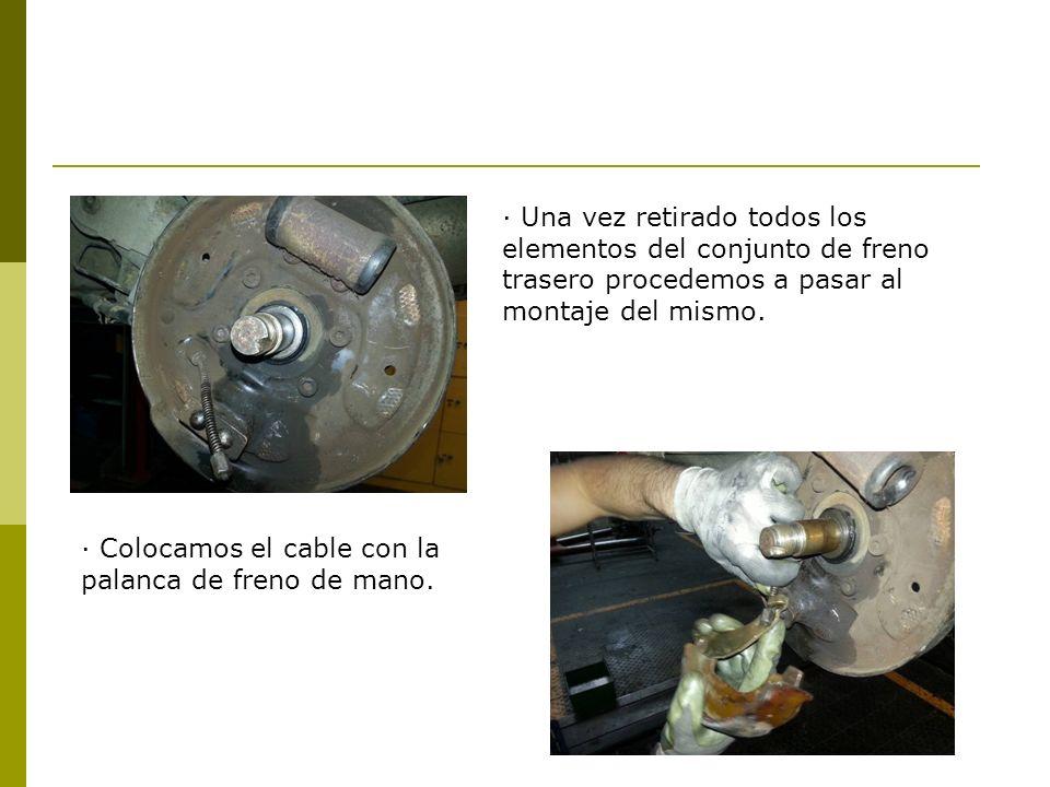 · Una vez retirado todos los elementos del conjunto de freno trasero procedemos a pasar al montaje del mismo.