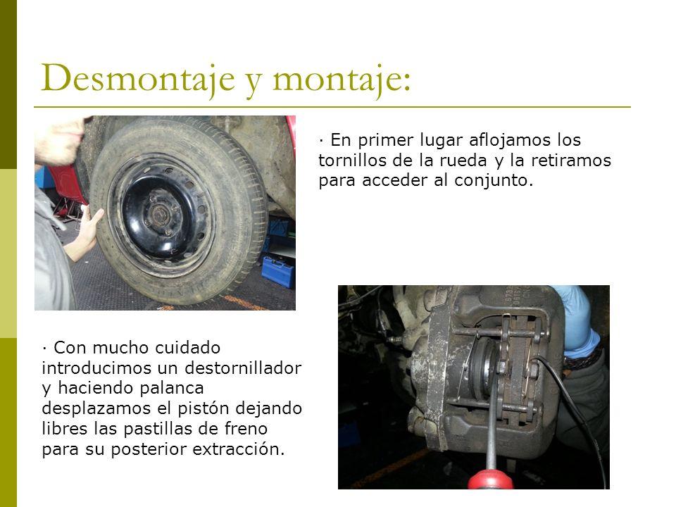 Desmontaje y montaje: · En primer lugar aflojamos los tornillos de la rueda y la retiramos para acceder al conjunto.