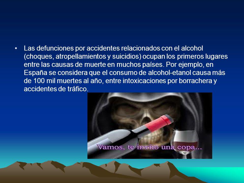 Las defunciones por accidentes relacionados con el alcohol (choques, atropellamientos y suicidios) ocupan los primeros lugares entre las causas de muerte en muchos países.
