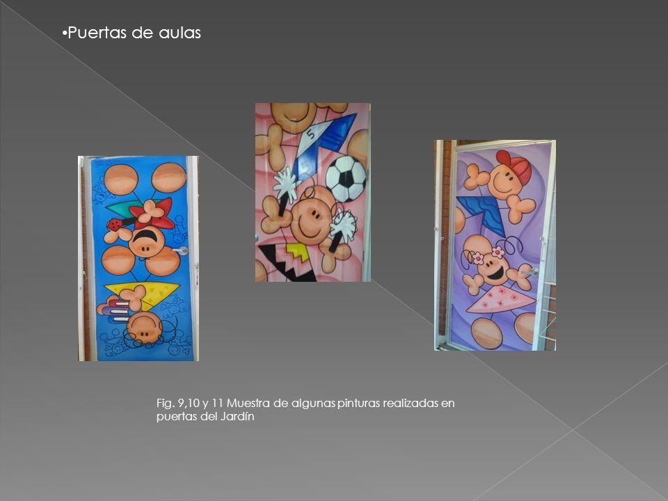Puertas de aulas Fig. 9,10 y 11 Muestra de algunas pinturas realizadas en puertas del Jardín