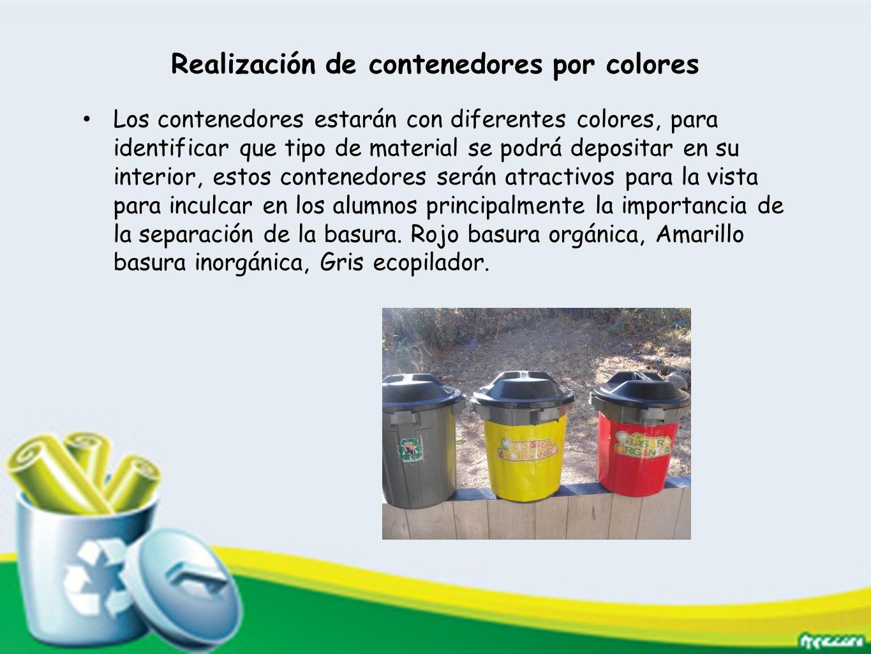 Realización de contenedores por colores