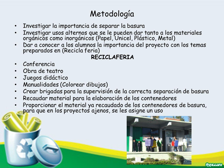 Metodología Investigar la importancia de separar la basura