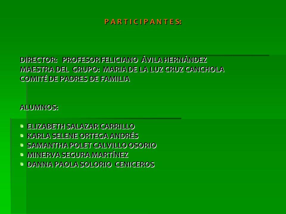 P A R T I C I P A N T E S: DIRECTOR: PROFESOR FELICIANO ÁVILA HERNÁNDEZ. MAESTRA DEL GRUPO: MARIA DE LA LUZ CRUZ CANCHOLA.