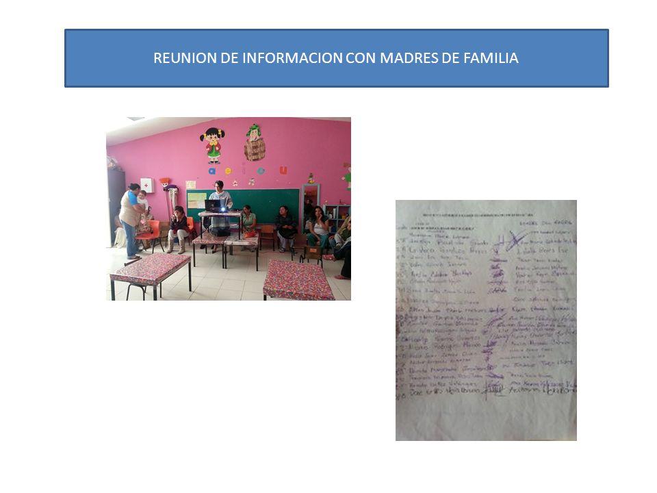 REUNION DE INFORMACION CON MADRES DE FAMILIA