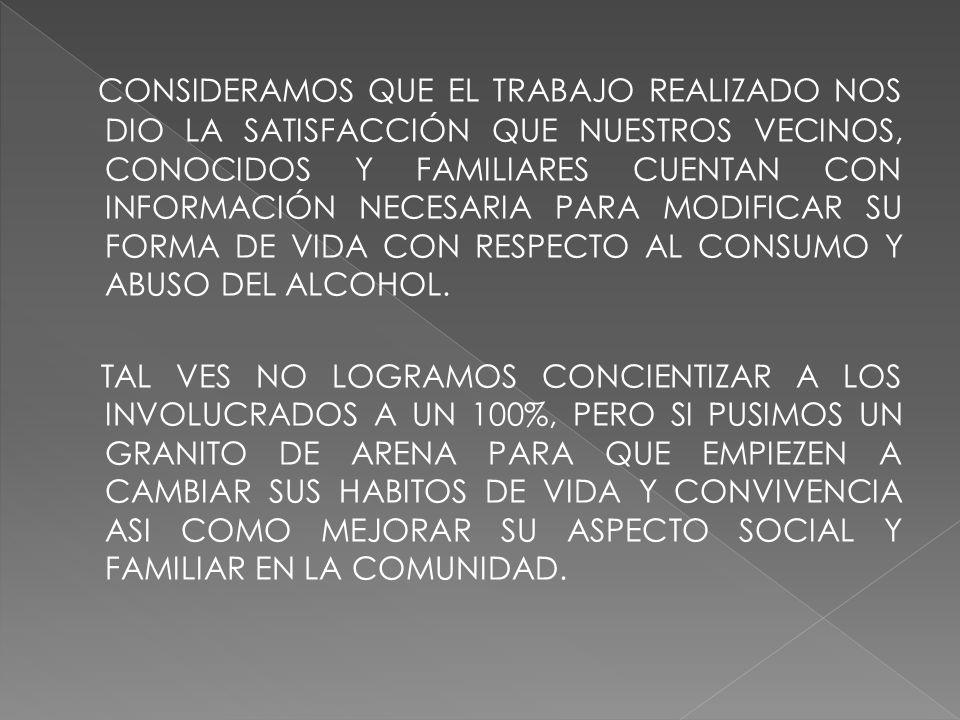 CONSIDERAMOS QUE EL TRABAJO REALIZADO NOS DIO LA SATISFACCIÓN QUE NUESTROS VECINOS, CONOCIDOS Y FAMILIARES CUENTAN CON INFORMACIÓN NECESARIA PARA MODIFICAR SU FORMA DE VIDA CON RESPECTO AL CONSUMO Y ABUSO DEL ALCOHOL.