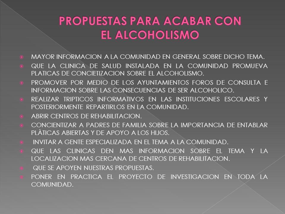 PROPUESTAS PARA ACABAR CON EL ALCOHOLISMO