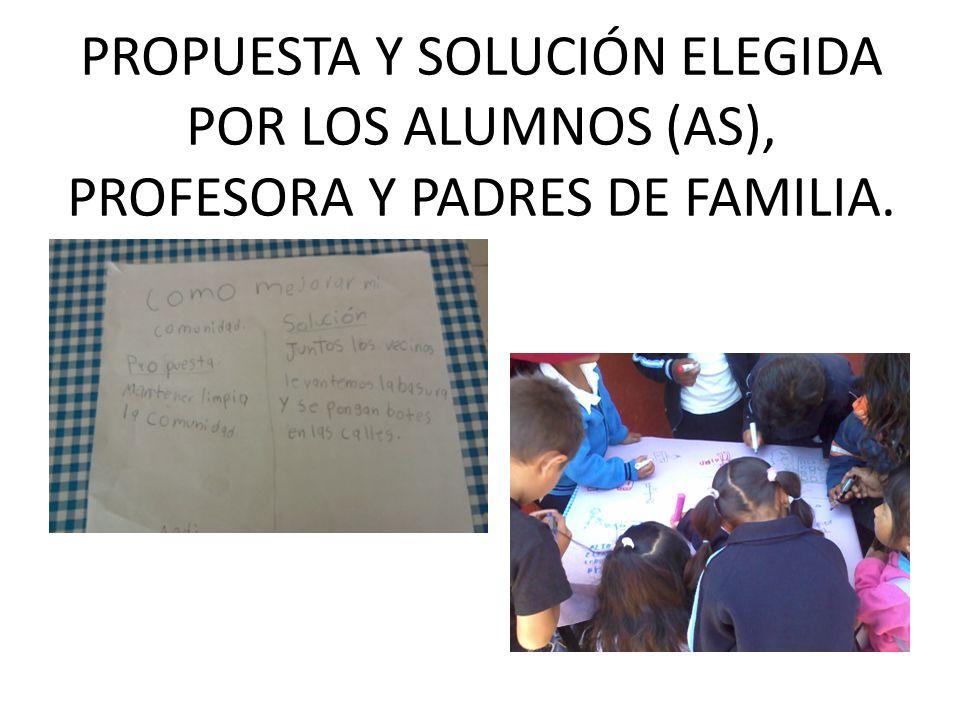 PROPUESTA Y SOLUCIÓN ELEGIDA POR LOS ALUMNOS (AS), PROFESORA Y PADRES DE FAMILIA.
