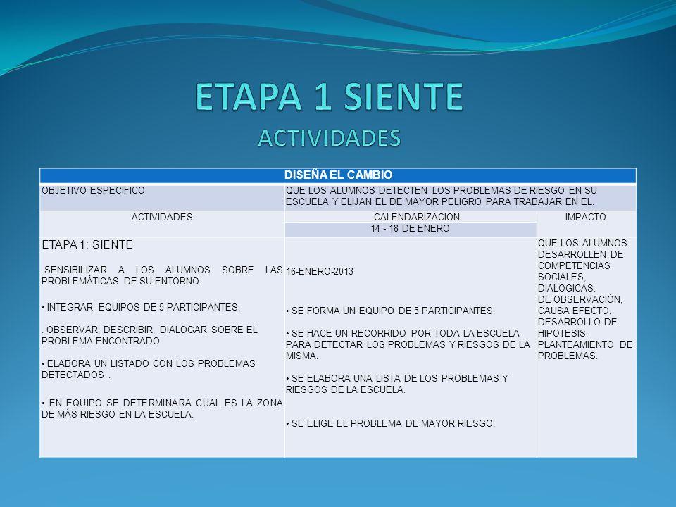 ETAPA 1 SIENTE ACTIVIDADES