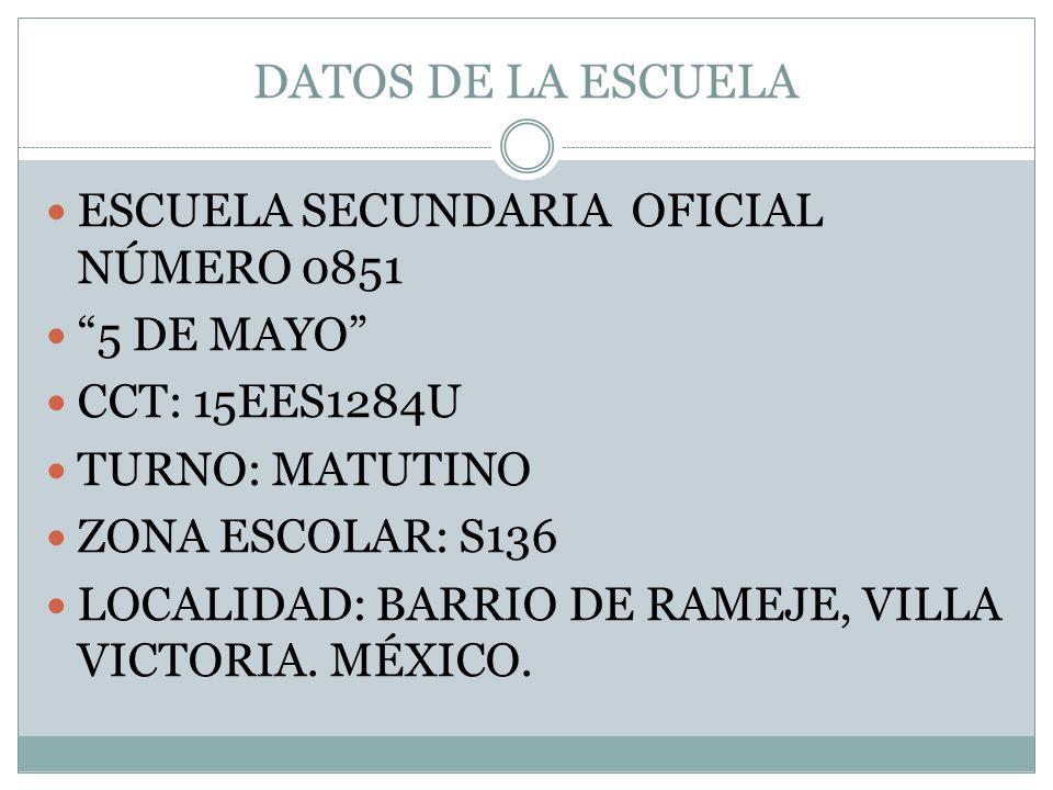 DATOS DE LA ESCUELA ESCUELA SECUNDARIA OFICIAL NÚMERO 0851 5 DE MAYO