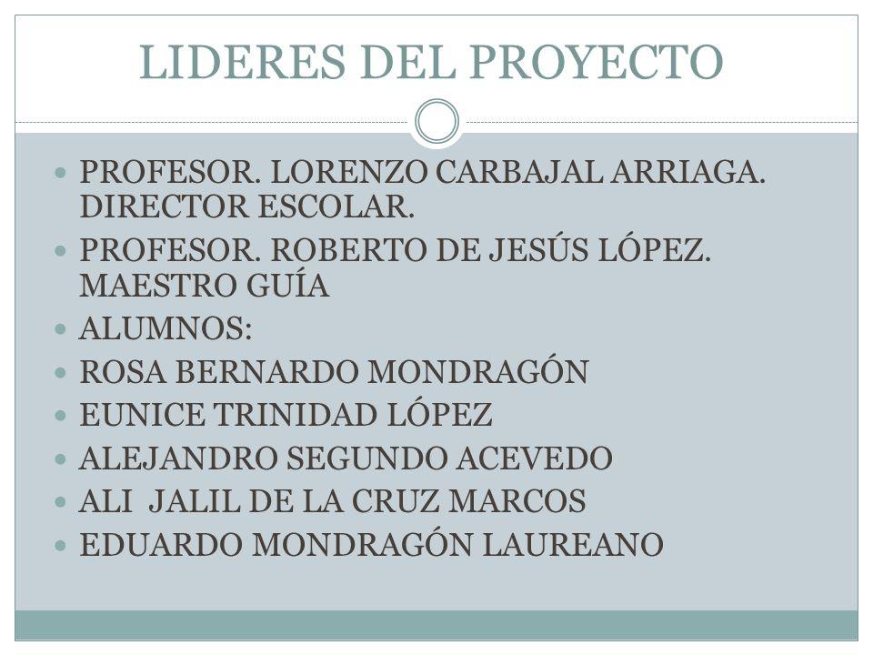 LIDERES DEL PROYECTO PROFESOR. LORENZO CARBAJAL ARRIAGA. DIRECTOR ESCOLAR. PROFESOR. ROBERTO DE JESÚS LÓPEZ. MAESTRO GUÍA.