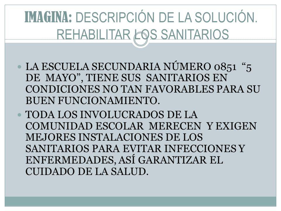 IMAGINA: DESCRIPCIÓN DE LA SOLUCIÓN. REHABILITAR LOS SANITARIOS