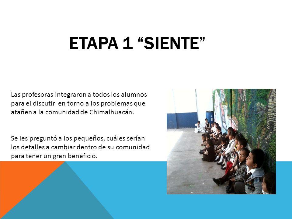 Etapa 1 Siente Las profesoras integraron a todos los alumnos para el discutir en torno a los problemas que atañen a la comunidad de Chimalhuacán.