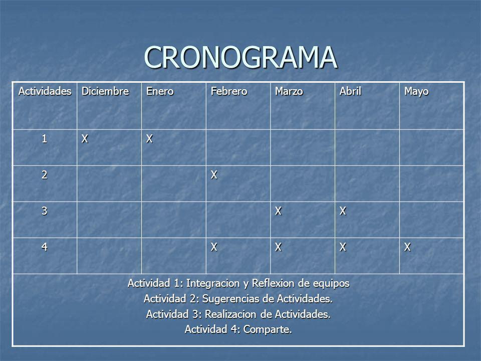 CRONOGRAMA Actividades Diciembre Enero Febrero Marzo Abril Mayo 1 X 2