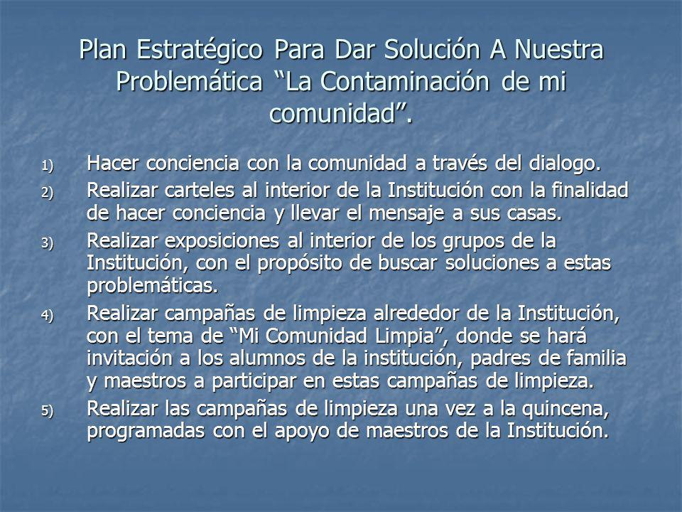 Plan Estratégico Para Dar Solución A Nuestra Problemática La Contaminación de mi comunidad .