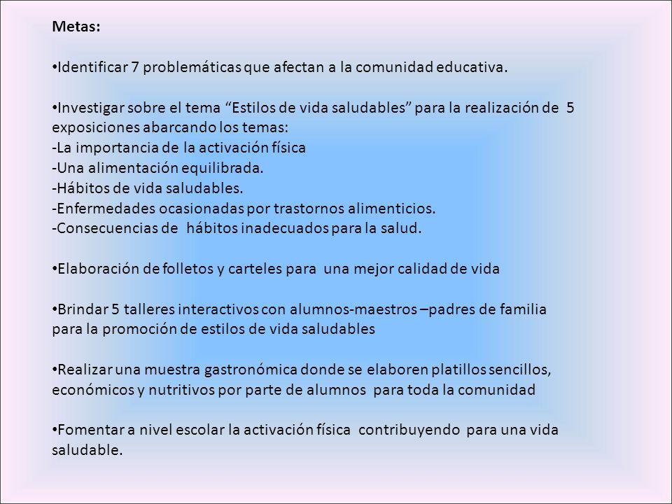 Identificar 7 problemáticas que afectan a la comunidad educativa.