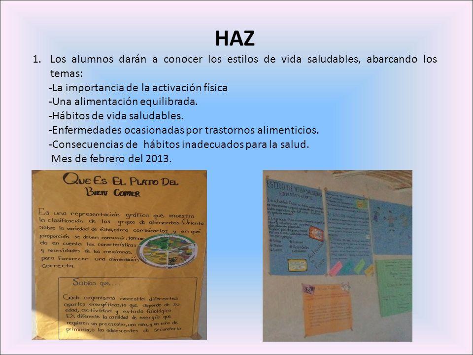 HAZLos alumnos darán a conocer los estilos de vida saludables, abarcando los temas: -La importancia de la activación física.