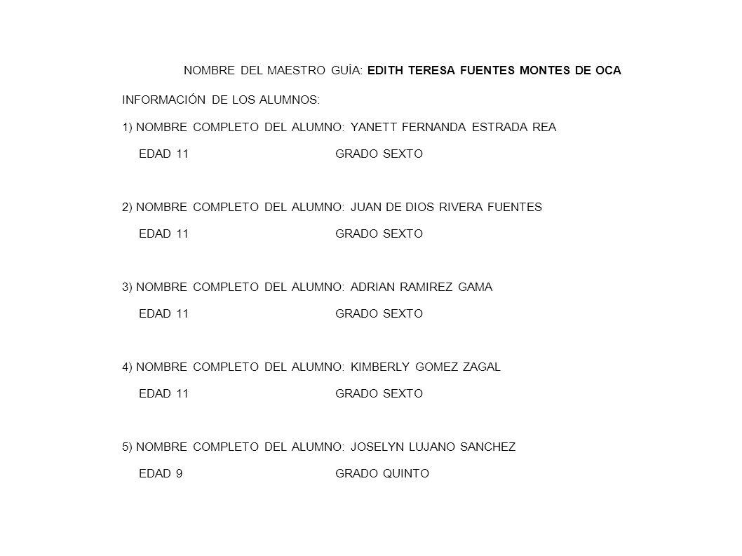 NOMBRE DEL MAESTRO GUÍA: EDITH TERESA FUENTES MONTES DE OCA