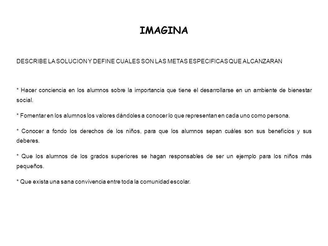 IMAGINA DESCRIBE LA SOLUCION Y DEFINE CUALES SON LAS METAS ESPECIFICAS QUE ALCANZARAN.